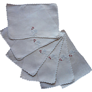 Classic Cocktail Napkins Madeira Linen Roosters Hand Embroidered