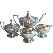 Antique Tea Set ca 1915 Simple Handsome Silver Plated Forbes TLC