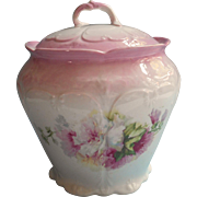 Antique Cracker Biscuit Jar China Pink White Hibiscus Flowers