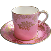 Paragon Demitasse Cup Saucer Pink Gold Vintage Bone China English