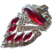 Art Deco Pin Deep Pink Glass Stones Pave Rhinestones Vintage 1930s