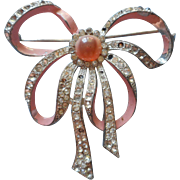 Vintage Pin Pink Ribbon Bow Rhinestones Painted Shabby TLC