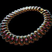 Vintage Enameled Necklace Black Pink Roses Hand Painted