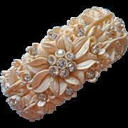 Vintage Clamper Bracelet Molded Plastic Rhinestones Summer Classic