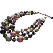 Vintage Glass Beads Necklace 3 Strand Purple Pink Green Japan