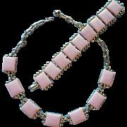 Vintage Pink Thermoset Lucite Necklace Bracelet Set Summer Fun