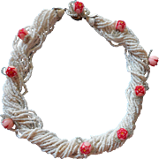 Vintage 40s 50s White Seed Bead Necklace Pink Plastic Roses