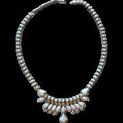 Weiss Vintage Necklace White Milk Glass Rhinestones