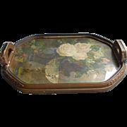c1920 Tea Tray Wood Glass Gesso Print Under Glass TLC Needed