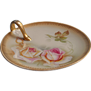 Antique Bavarian China Pink Roses Nappy Dish Soft Colors Gold