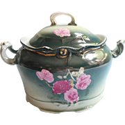 Antique Cracker Biscuit Jar China Pink Roses Blue Green Shaded