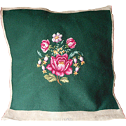 Vintage Needlepoint Green Pink Rose Finished Canvas Chair Set Pillow