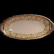 Antique Roses China Bavarian Dish Soft Pastel Gold Oval Relish