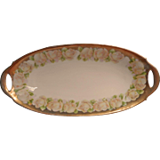 Antique Roses China Bavarian Dish Soft Pastel Gold Oval Relish