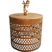 Cherub Finial Vintage Metal Filigree Toilet Tissue Cover Powder Room