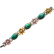 Vintage Bracelet Enamel Flowers Faux Jade Chunks Cabochons