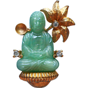 Vintage Buddha Pin Brooch Glass Faux Jade TLC