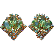 Vintage Green AB Rhinestones Earrings Teardrop Stones Tipped Square Shape