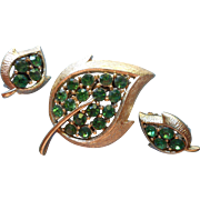 Vintage Set Pin Brooch Earrings Leah Shape Green Rhinestones