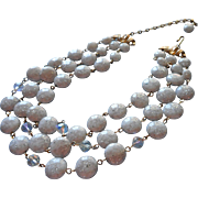 Vintage Kramer Necklace Lucite Gold White Confetti 3 Strand AB Crystal Beads