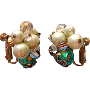Vendome Vintage Earrings Ice Green Brown AB Crystal Lampwork Beads