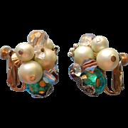 Vendome Vintage Earrings Ice Green Brown AB Crystal Lampwork Beads