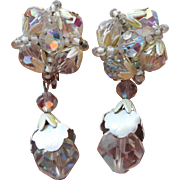 Vendome Vintage Drop Earrings Crystal White Painted Metal