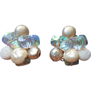 Vogue Vintage Earrings Flat Faux Pearl AB Glass Beads Large Cluster