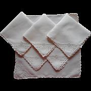 Tea Napkins Cutwork Hand Embroidery Antique 3 Good 3 TLC