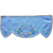 Vanity Doily Scarf Vintage Hand Embroidered Blue Crocheted Lace Edging