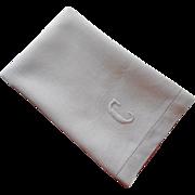 Monogram C Antique Linen Damask Hand Towel