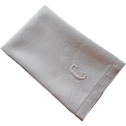 Monogram C Antique Linen Damask Hand Towel