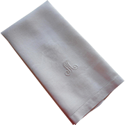 Monogram M Antique Linen Damask Towel