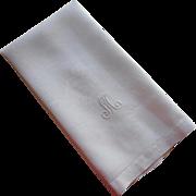 Monogram M Antique Linen Damask Towel