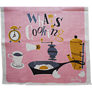 Vintage 1950s Lois Long Printed Linen Towel Pink Whats Cooking