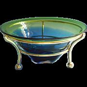 MCM Art Glass Bowl In Frame Stand Blue Green Pilgrim Glass