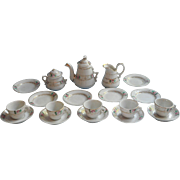 Victorian Child Doll Tea Set Antique China Pink Roses Gold