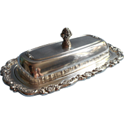 Butter Dish Roses Ornate Rim Glass Insert Vintage Silver Plated Oneida