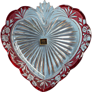 Vintage Southern Garden Oneida Crystal Heart Tray Dish Cranberry Red Overlay Original Box