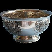 Pomegranate Motifs Repousse Bowl Vintage Silver Plated