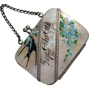 Antique Mother Of Pearl Coin Purse Hand Painted Swallow Pikes Peak Souvenir