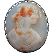 Antique Shell Cameo In Pin Frame As Is TLC Needed