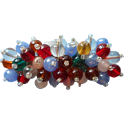Vintage 1930s Glass Bead Pin Make Do Multicolor