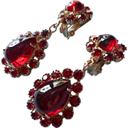 Vintage 1960s Ruby Red Glass Drop Earrings Rich Color