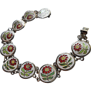 Vintage Enamel Bracelet White Red Flowers