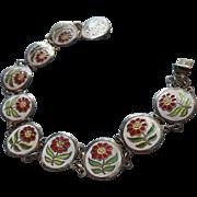 Vintage Enamel Bracelet White Red Flowers