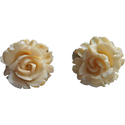 Vintage Accessocraft Roses Carved Earrings Clip Screw Backs