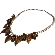 Vintage 1930s Necklace Book Chain Dangling Flowers Leaves Aluminum Accents