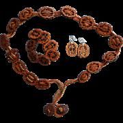 Vintage Boho Butternut Belt Earrings Bracelet Nut Shell Slices Leather