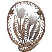 Canetille Filigree Pin Vintage Carved Tulip Flowers